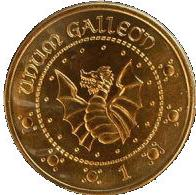 1 gold galleon coin Actual Size Image