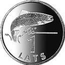 1 Latvian lats coin Actual Size Image
