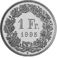 1 Swiss Franc coin Actual Size Image