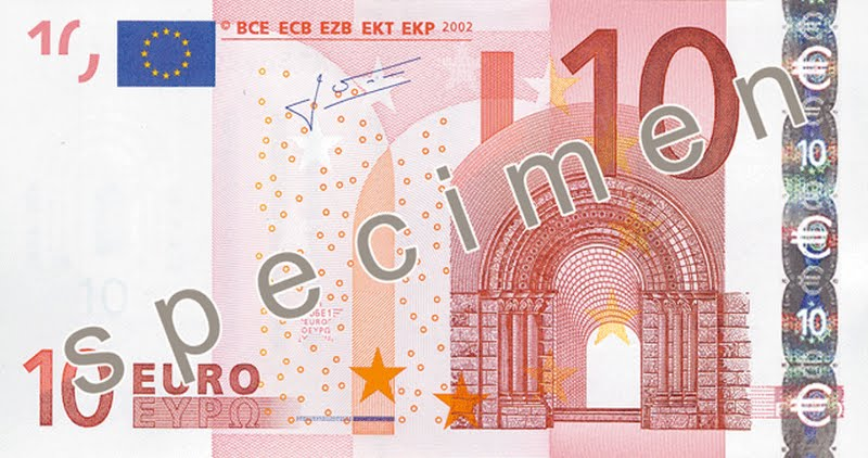 10 Euro banknote (2) Actual Size Image