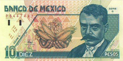 10 Mexican Peso Actual Size Image
