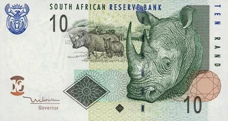 10 South African Rand note Actual Size Image