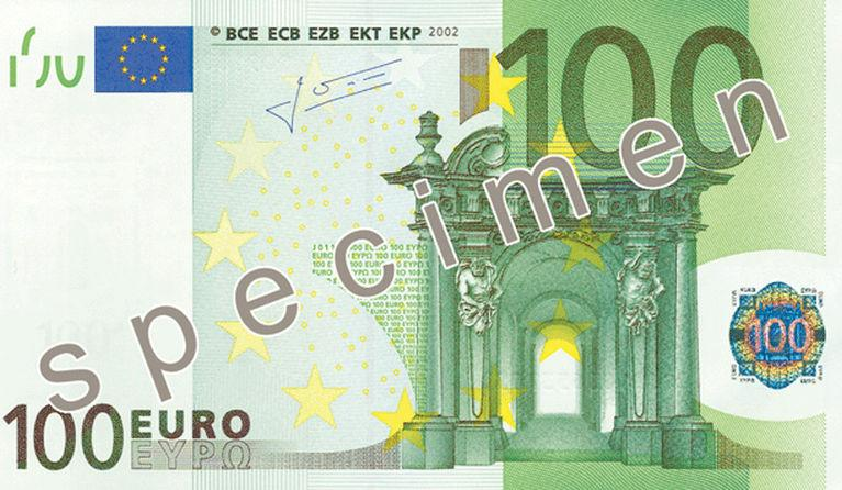 100 Euro Banknote Actual Size Image