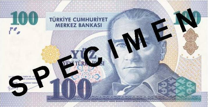 100 new Turkish Lira banknote Actual Size Image
