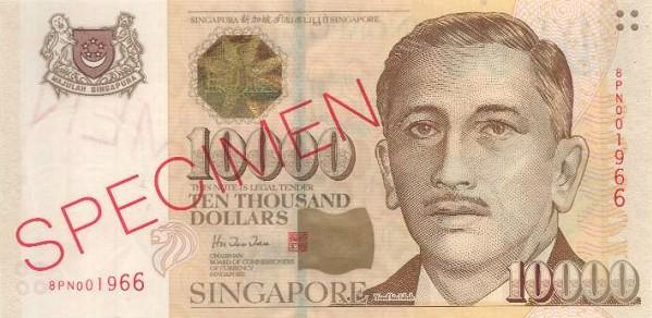 10000 Singapore Dollars Actual Size Image