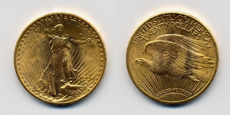 1924 St. Gaudens Double Eagle (USA 1ozt gold coin) Actual Size Image