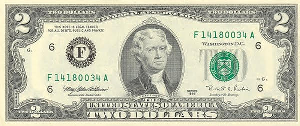 2 Dollar Bill Actual Size Image