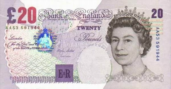 £20 20 Pound Note Actual Size Image