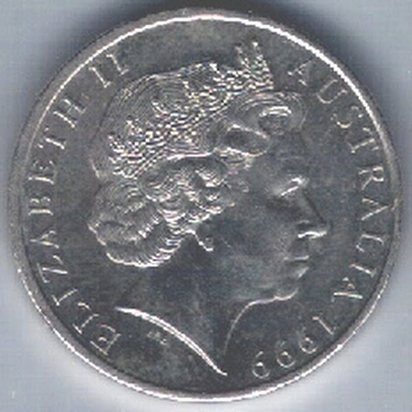 20 Australian cent coin Actual Size Image