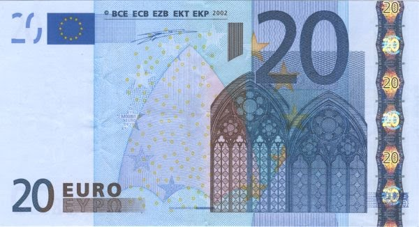 20 Euro Note Actual Size Image
