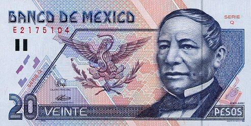 20 Mexican peso Actual Size Image