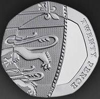 20 pence Actual Size Image
