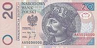 20 Polish Zloty Actual Size Image