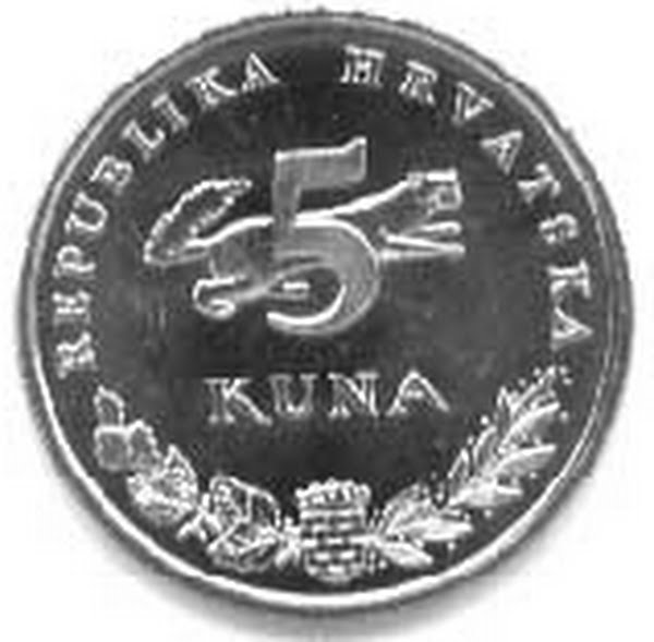 5 Croatian kuna Actual Size Image