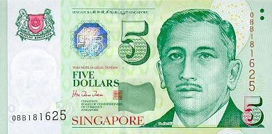 5 Singapore Dollars Actual Size Image