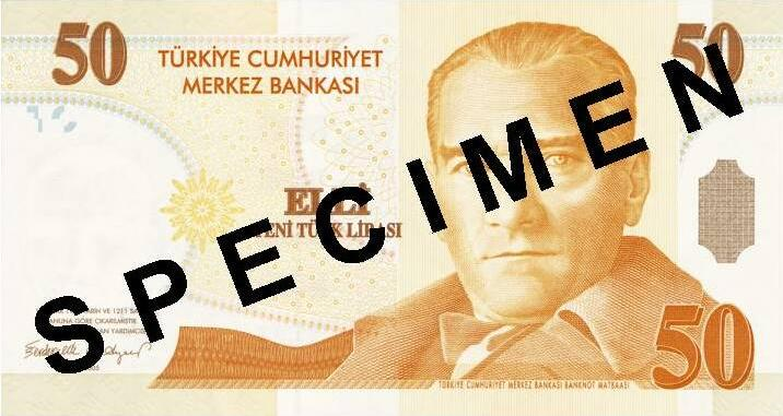 50 new Turkish Lira banknote Actual Size Image