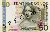50 Swedish Krona banknote Actual Size Image