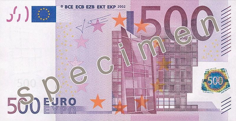 500 Euro Banknote Actual Size Image