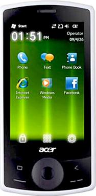 Acer beTouch E101 Actual Size Image