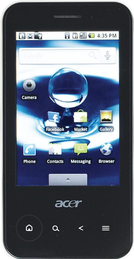 Acer beTouch E400 Actual Size Image