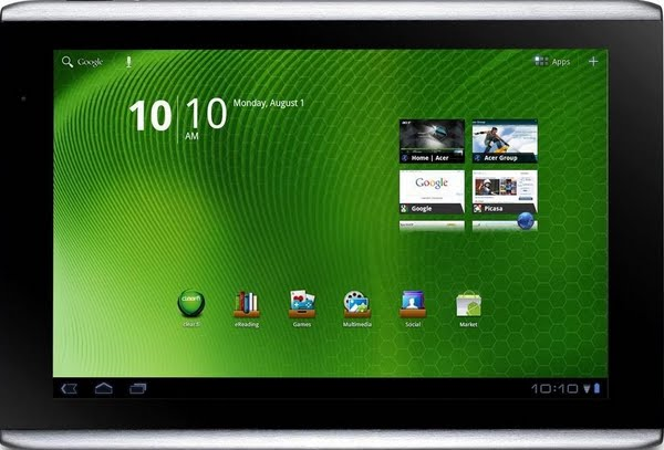 Acer iconia Tab A500 Actual Size Image