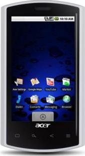 Acer Liquid Metal Actual Size Image