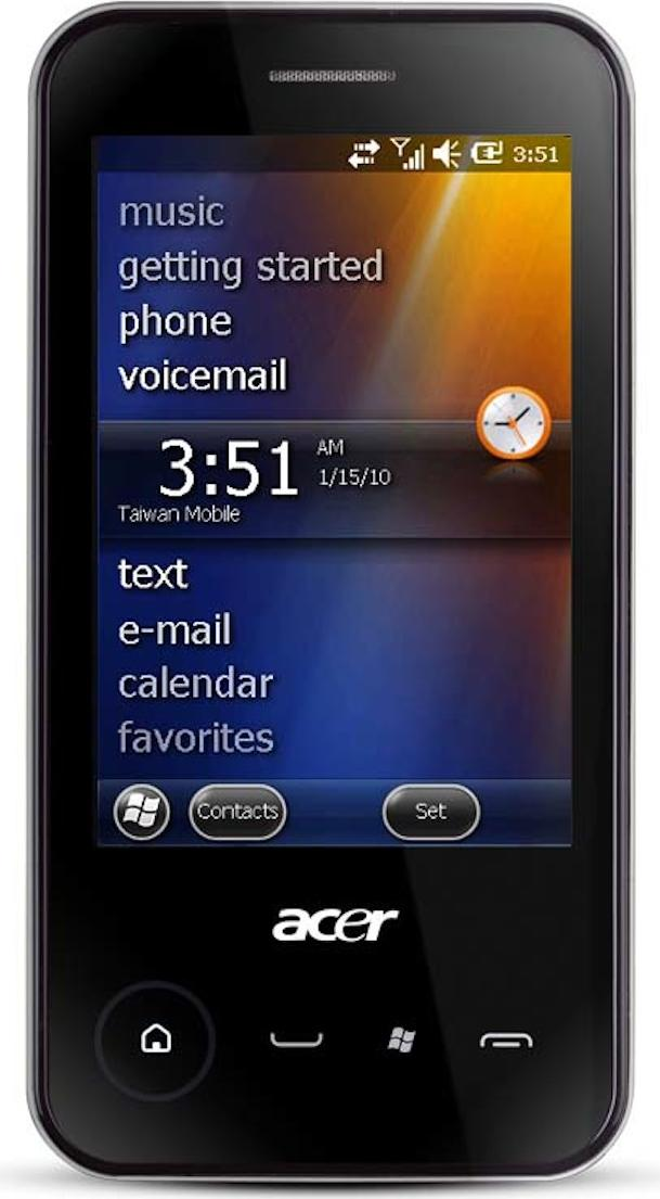 Acer neoTouch P300 Actual Size Image