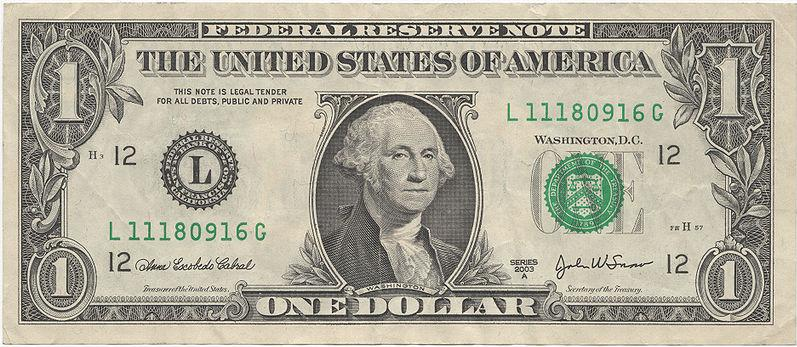 American 1 Dollar bill Actual Size Image