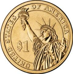 American 1 Dollar coin Actual Size Image