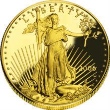 American $5 golden eagle Actual Size Image