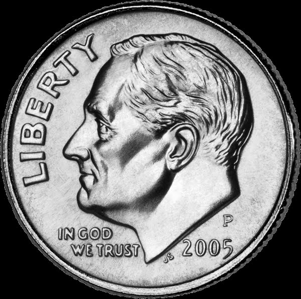 American Dime - 10 cents Actual Size Image