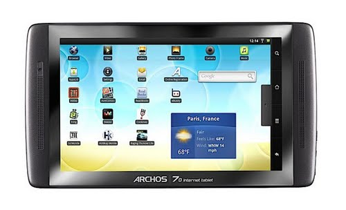 Archos 70 Android Tablet Actual Size Image
