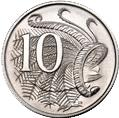 Australian 10 cent coin Actual Size Image