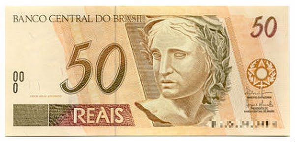 Brazilian 50 Real note Actual Size Image