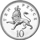 British 10 pence coin Actual Size Image