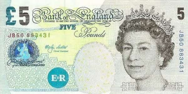 British 5 Pound Note Actual Size Image