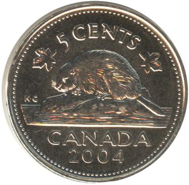 Canadian 5 cents Actual Size Image