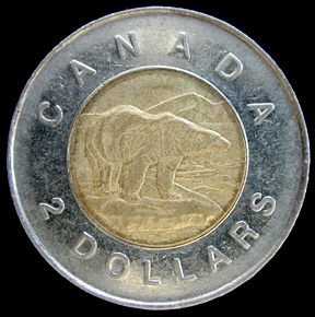 Canadian two dollars (toonie) Actual Size Image