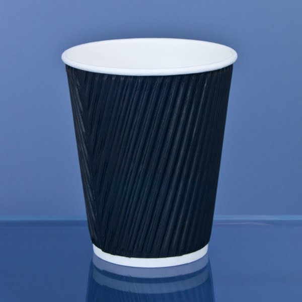 CupsDirect Black Coffee Cup Actual Size Image