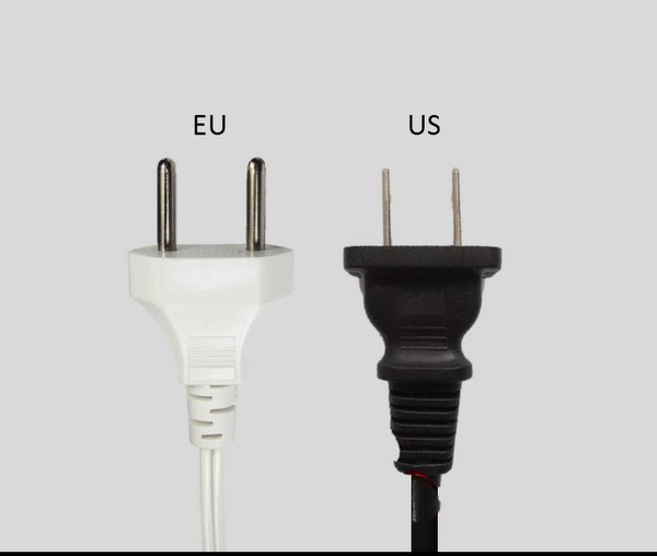 Europe vs. United States plugs Actual Size Image