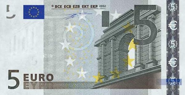 Five Euro Note Actual Size Image