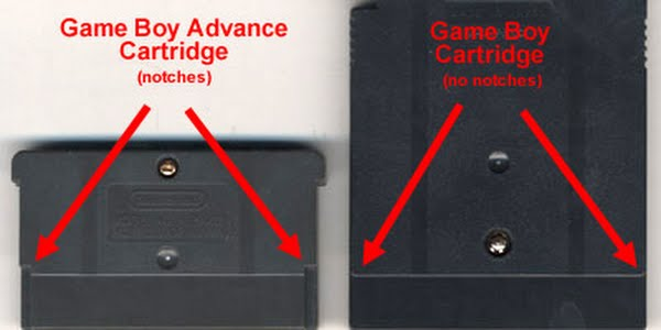 gba cart vs gb cart Actual Size Image