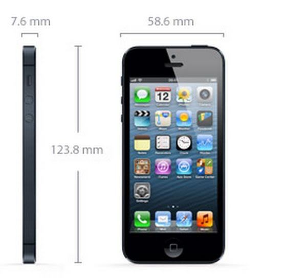 iphone 5 Actual Size Image