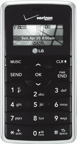 LG enV2 Black Phone (Verizon Wireless) Actual Size Image