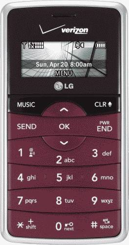 LG enV2 Maroon Phone (Verizon Wireless) Actual Size Image