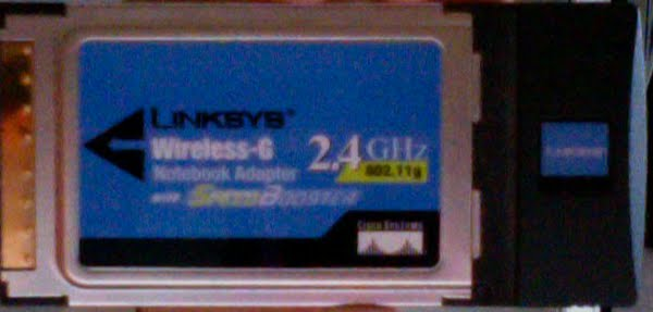 Linksys Wireless-G 2.4 GHz LAN Card Actual Size Image
