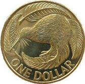 New Zealand 1 dollar coin Actual Size Image