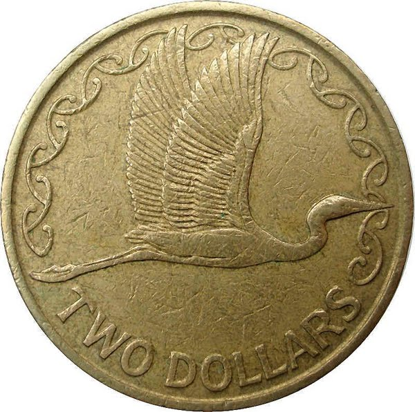 New Zealand 2 Dollar Coin Actual Size Image