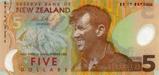 New Zealand 5 Dollar note Actual Size Image