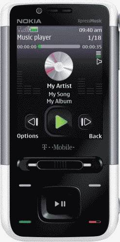 Nokia 5610 XpressMusic White Phone (T-Mobile) Actual Size Image